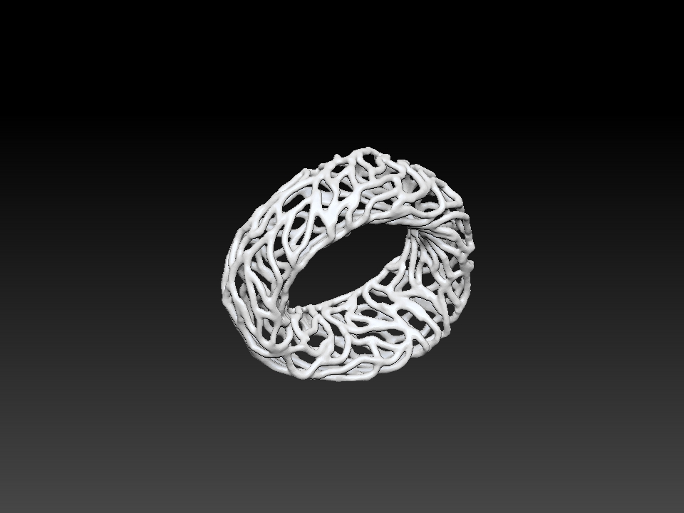 IZABEL LAM CORAL TUBE BRACELET  3D PRINTED 3QUARTER VIEW BOTTOM