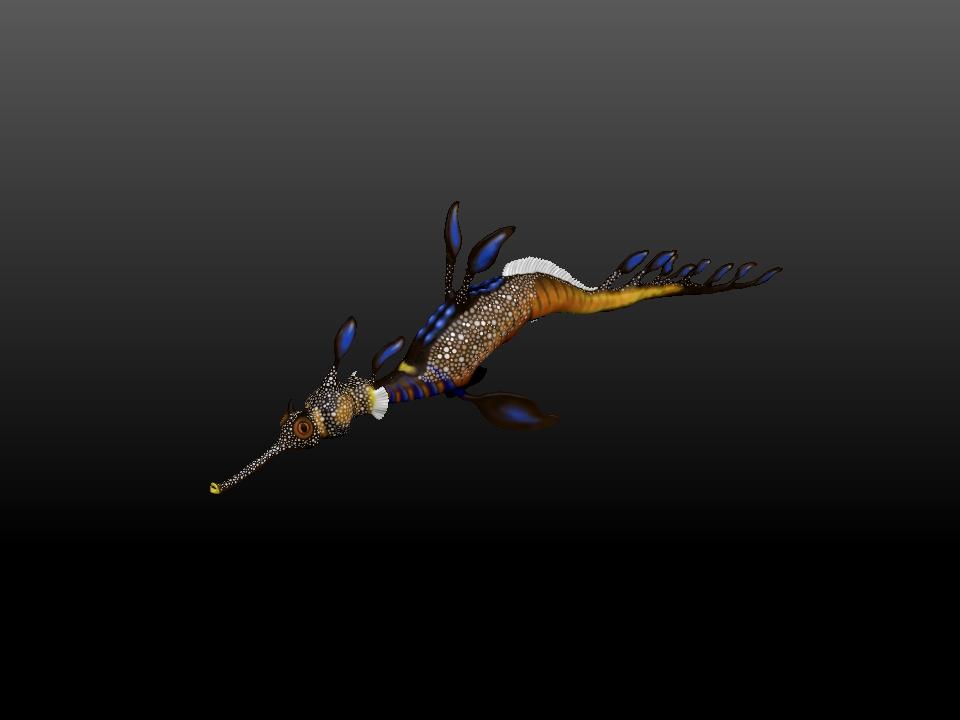 IZABEL LAM DYLAN THE SEA DRAGON SCULPTURE 3D PRINTED 3QUARTER VIEW
