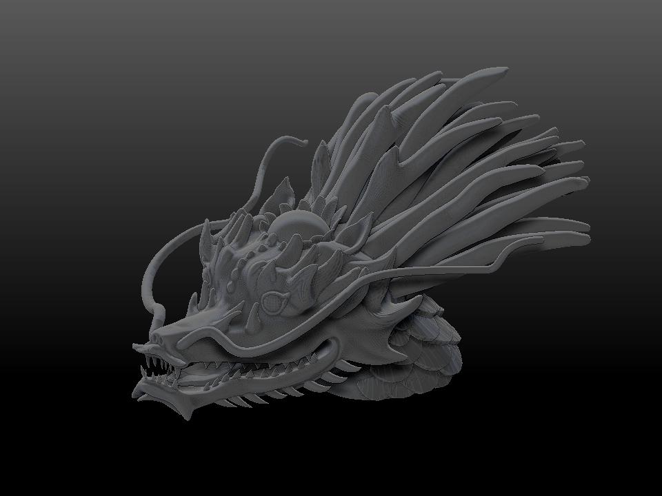 _IZABEL LAM THE EMPEROR DRAGON SCULPTURE 3D PRINTED 3QUARTER FRONT VIEW GREY
