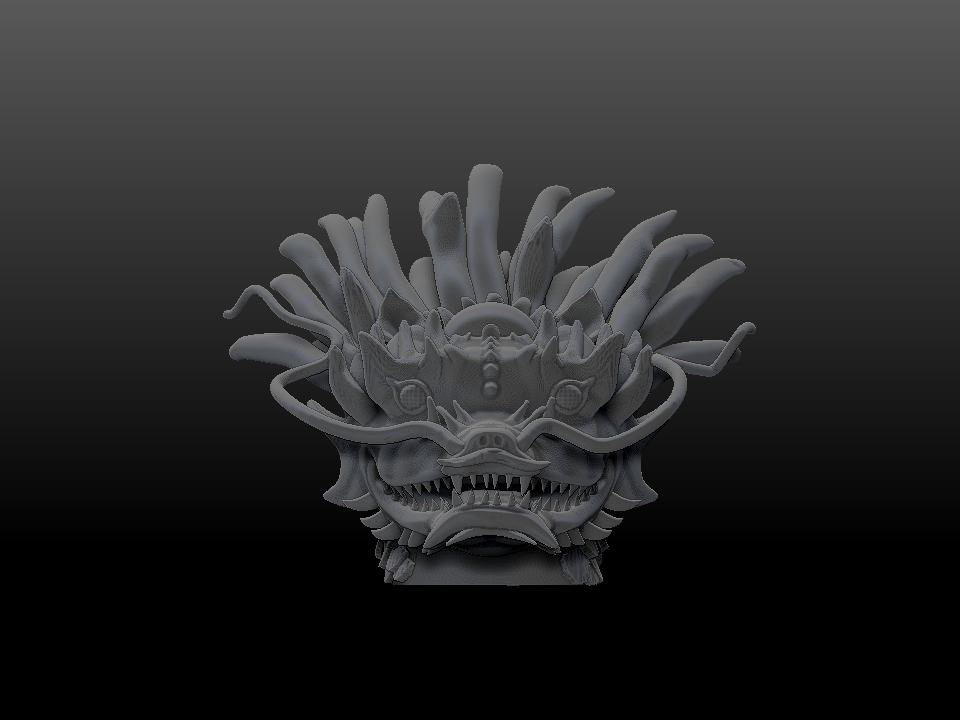 _IZABEL LAM THE EMPEROR DRAGON SCULPTURE 3D PRINTED FRONT VIEW GREY