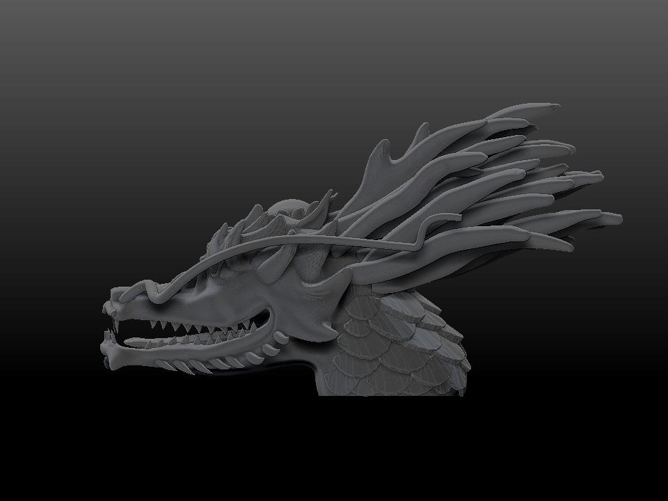 _IZABEL LAM THE EMPEROR DRAGON SCULPTURE 3D PRINTED SIDE VIEW GREY