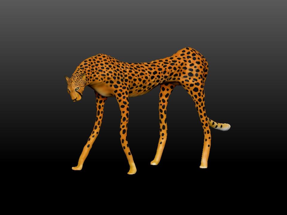 IZABEL LAM - ZATITI THE CHEETAH SCULPTURE 3D PRINTED 3QUARTER SIDEVIEW
