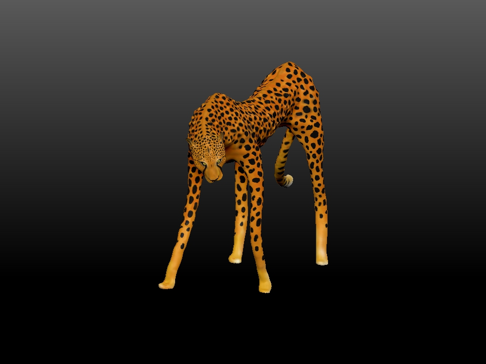 IZABEL LAM - ZATITI THE CHEETAH SCULPTURE 3D PRINTED 3QUARTER VIEW