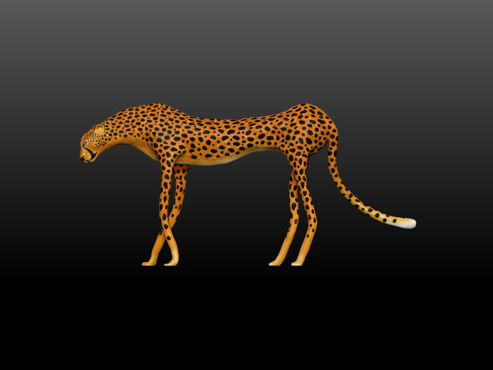 IZABEL LAM - ZATITI THE CHEETAH SCULPTURE 3D PRINTED SIDE VIEW