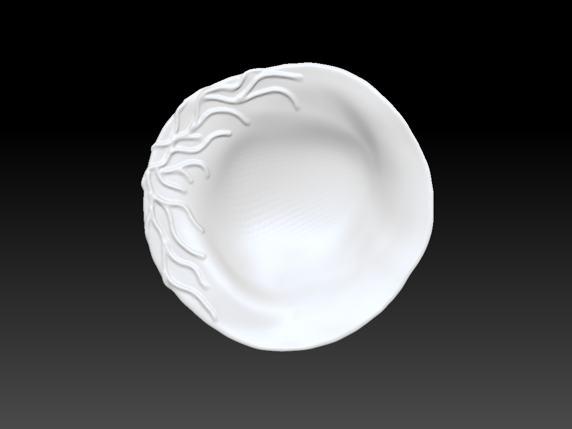 FLOW ROUND BOWL - CORAL BRANCH TOP VIEW
